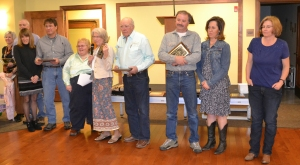 2016 Centennial Ranch award-Bootjack Ranch-Jim Noble family with Jonita Sommers presenting,courtesy Joy Ufford at Sublette Examiner-Pinedale Roundup