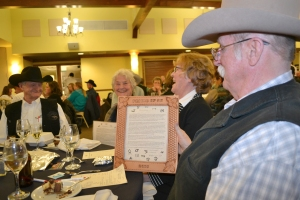 2016 Friend of Ag-Bondurant Communty Barbeque-Bill and Martha Saunders with Rusty and Gary Endocott at banquet, courtesy Joy Ufford at Sublette Examiner-Pinedale Roundup
