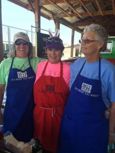 Jacque Downs, Rita Thomas and Becky Downs at 2016 Philly Cheese Steak booth